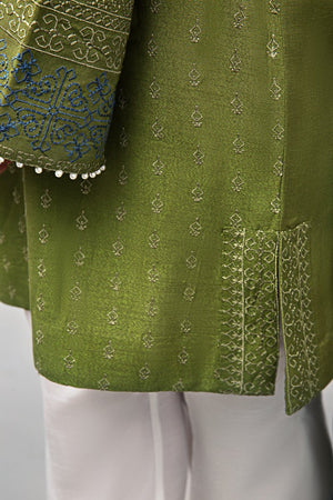Ethnic Unstitched 2PC Rice Karandi Shirt Embroidered Plus Chiffon Dupatta - yesonline.pk