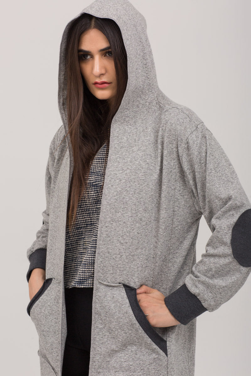 Open Long Hoodie Knits jersey Patched Hoodie