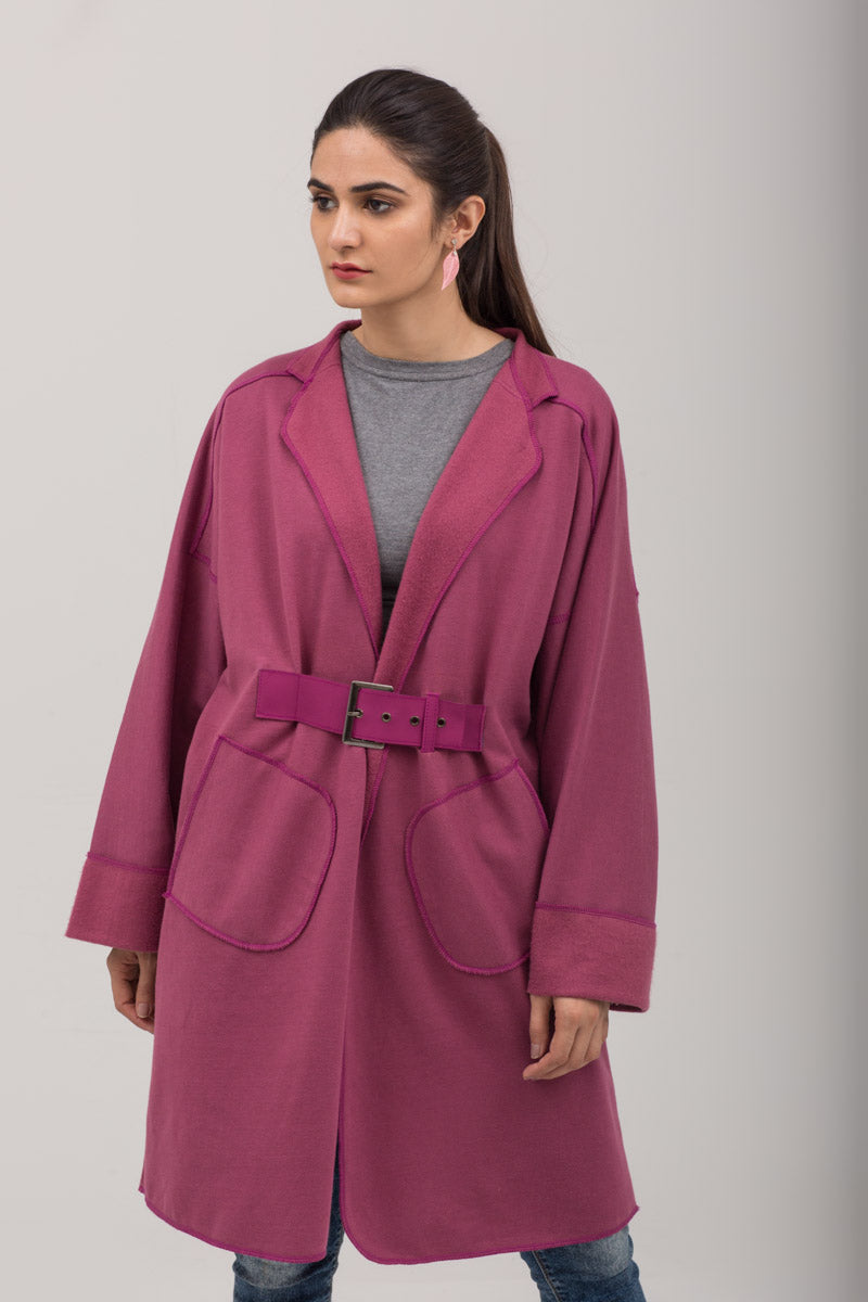 Pink Fleece Winter Sweat Cardigan With Leather belt