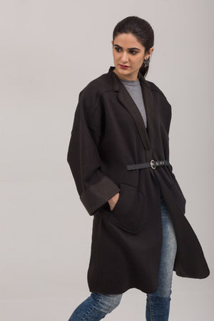 Black Fleece Winter Sweat Cardigan With Leather belt - yesonline.pk