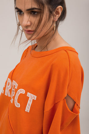 Crewneck Orange Trendy Embroidered Terry Sweat Shirt - yesonline.pk