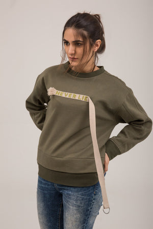 Hanging Stripe Embroidered Fleece Sweat Shirt
