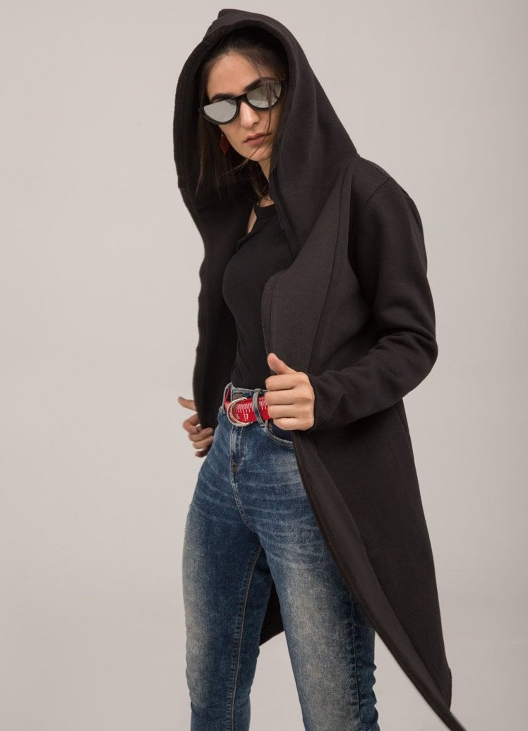 Black Fleece Long open Winter Sweat Cardigan