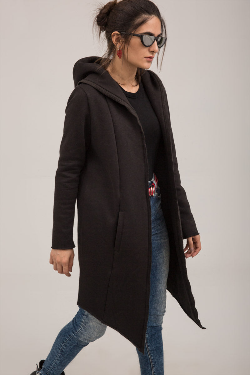 Black Fleece Long open Winter Sweat Cardigan - yesonline.pk
