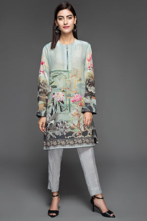 Vanilla Blue (Pure Grip Silk, Digitally Printed Tunics Fusion 1 pc Shirt) - yesonline.pk