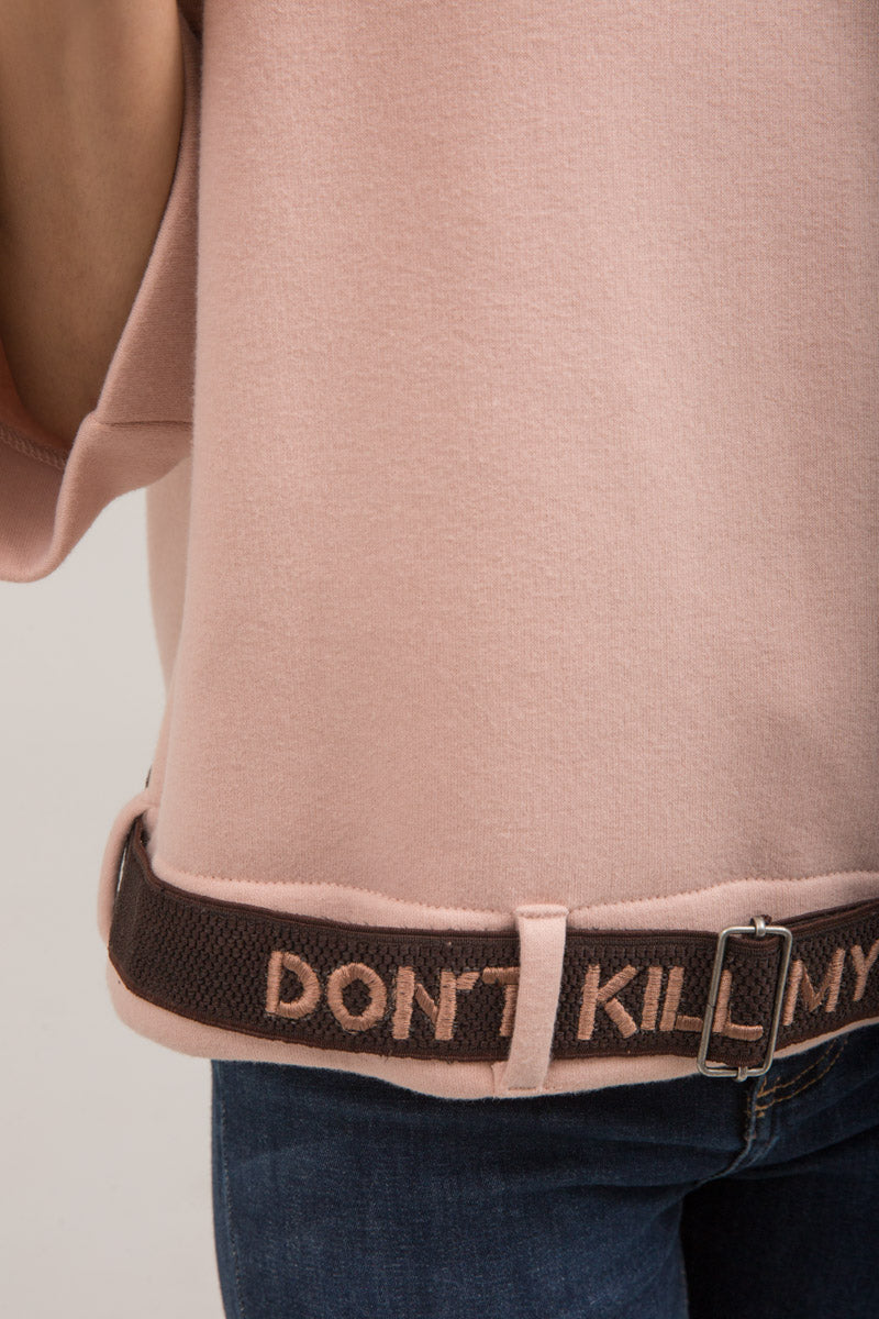 Light Pink Crew neck sweat shirt with Belt - yesonline.pk