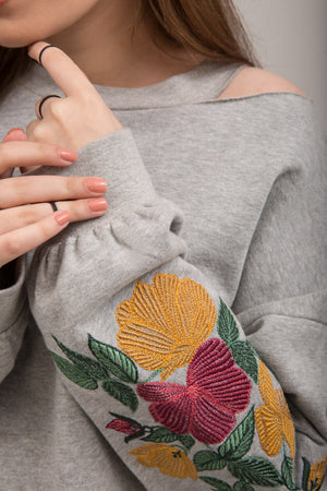 Heather Gray Embroidered Fleece Sweat Shirt - yesonline.pk