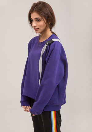 Crewneck Purple Trendy Terry Sweat Shirt