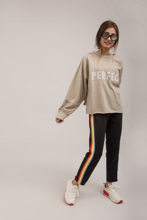 Crewneck BeigeTrendy Embroidered Terry Sweat Shirt - yesonline.pk