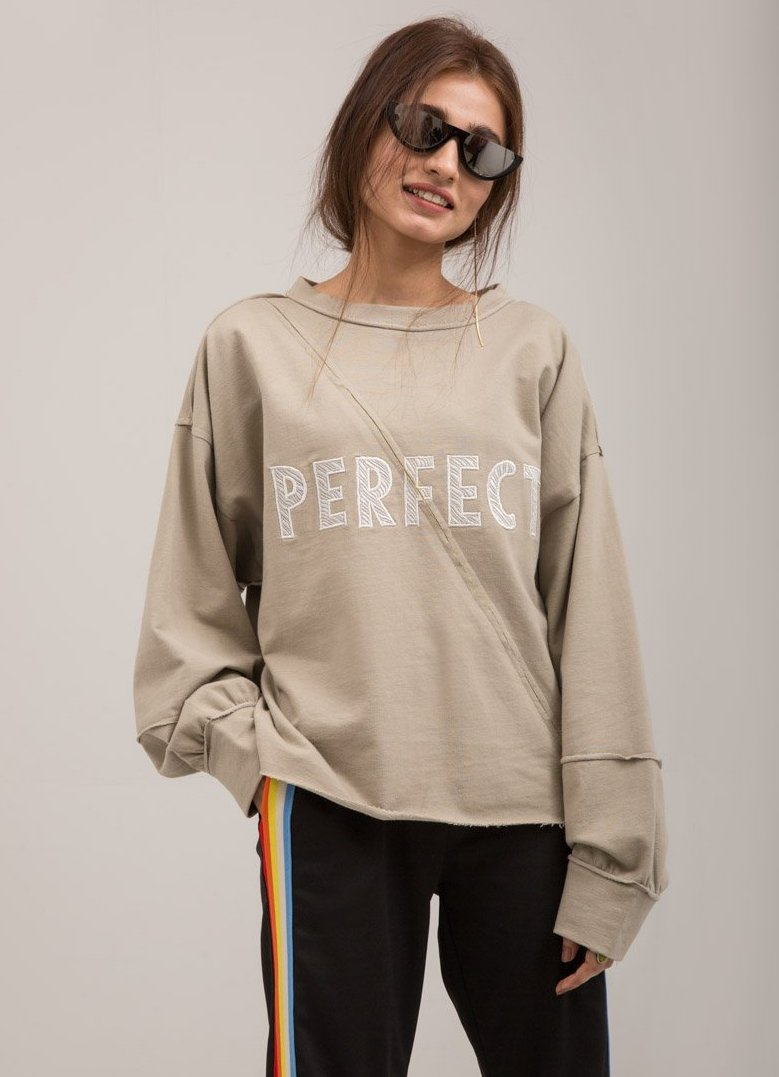 Crewneck BeigeTrendy Embroidered Terry Sweat Shirt