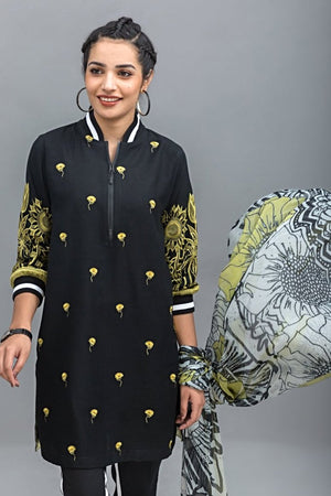 Sun Flower Unstitched 2PC Rice Karandi Shirt  Embroidered Plus Chiffon Dupatta - yesonline.pk