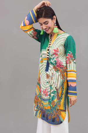 Emerald Lillies - 1 pc PRET (Stitched) - Digital Printed Lawn Shirt - yesonline.pk