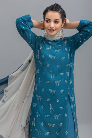 Origami Unstitched 2PC Rice Karandi Shirt  Embroidered Plus Chiffon Dupatta - yesonline.pk