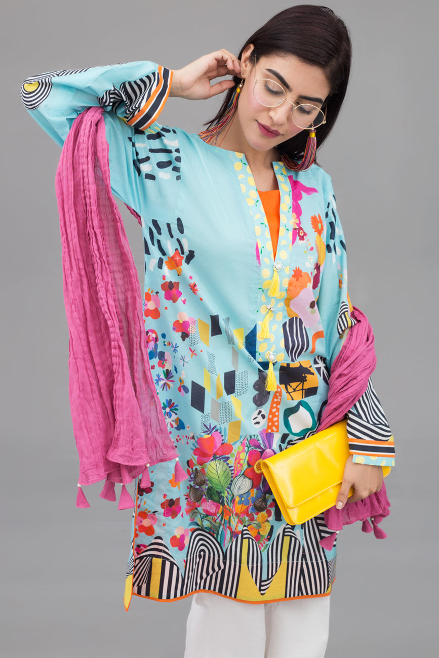 Forever young - 1 pc PRET (Stitched) - Digital Printed Lawn Shirt - yesonline.pk