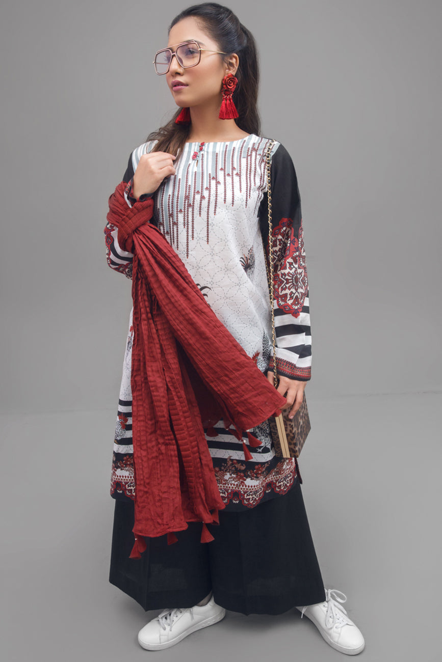 Bright White - 1 pc PRET (Stitched) - Digital Printed Lawn Shirt - yesonline.pk