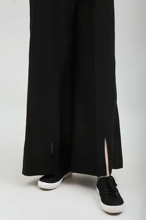 Black Slit cult Pant, 100% Black Cotton - yesonline.pk