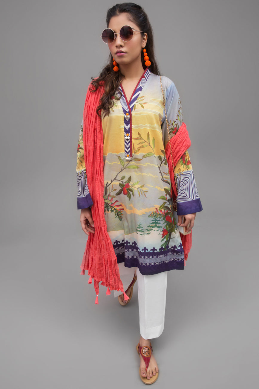 Misty Lilac - 1 pc PRET (Stitched) - Digital Printed Lawn Shirt - yesonline.pk