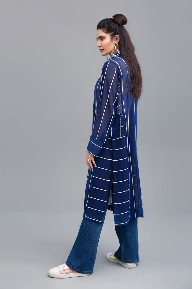 Blue & White Striped long Jacket Chiffon Fabric By Yesonline.pk - yesonline.pk