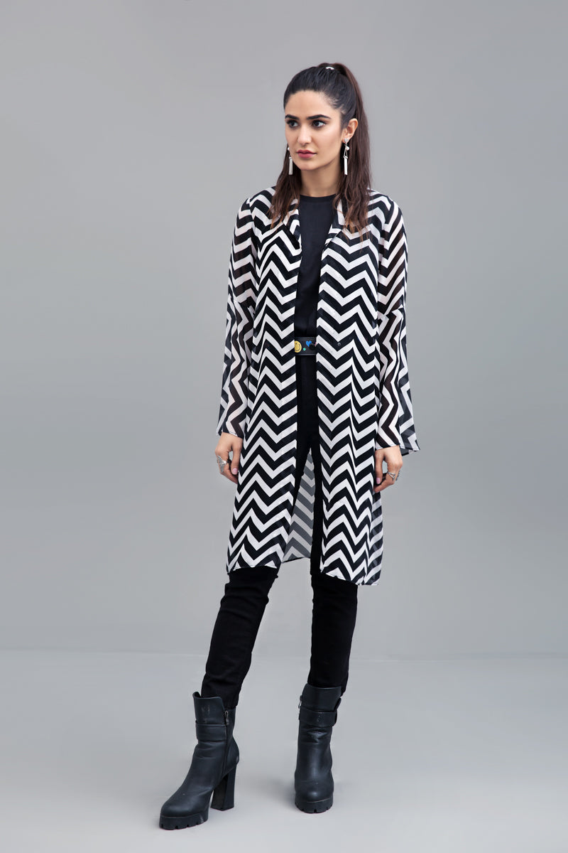 Black & White Zigzag  Jacket Chiffon Fabric By Yesonline.pk - yesonline.pk