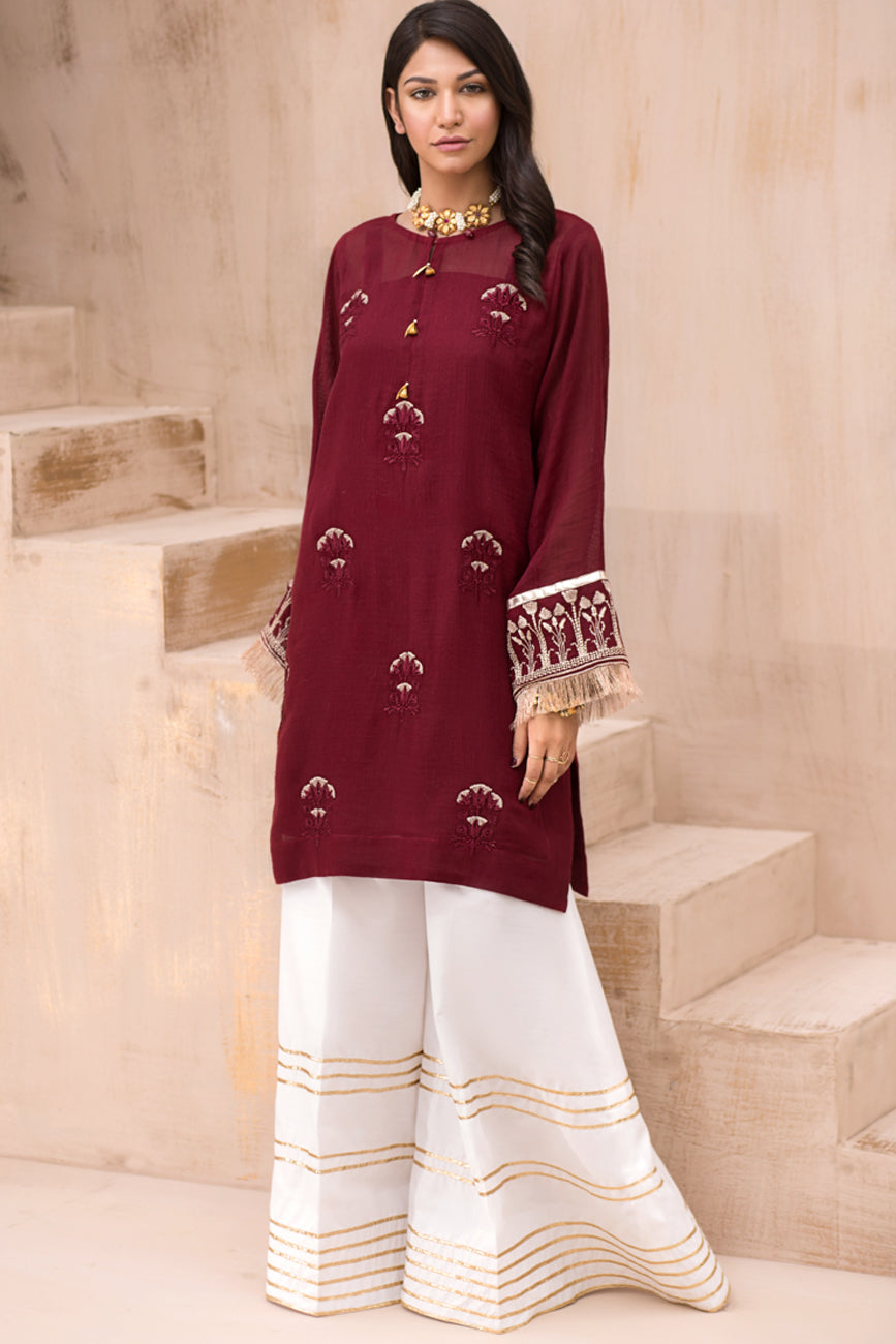 Fluoric Essence 1pc Pret Kurta (Cotton-Net) By Yesonline.Pk - yesonline.pk