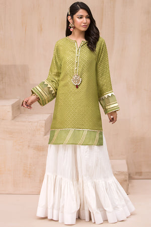 Pickle Green 1pc Pret Kurta (Jacquard) By Yesonline.Pk - yesonline.pk