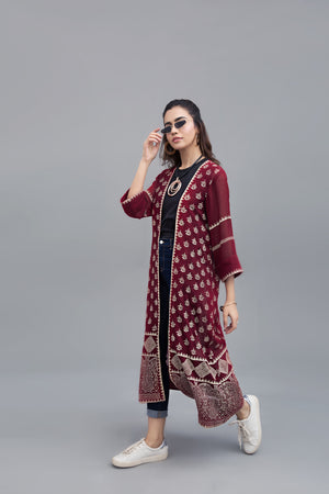 Block Printed Rouge long jacket cotton net Fabric By Yesonline.pk - yesonline.pk