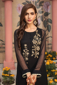 BLACK ASCENTS - 2pc Chiffon Shirt With Silk Cotton Under Slip & Raw Silk Straight Pant. Stitched By Yesonline.Pk - yesonline.pk