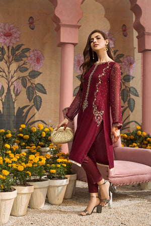 CHERRY BLISS RED -2pc Chiffon Shirt With Silk Cotton Under Slip & Raw Silk Straight Pant. Stitched By Yesonline.Pk - yesonline.pk