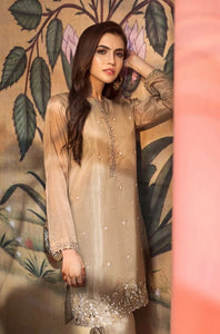 GLAMMING LINE -2pc Shimmery Organza Shirt With Silk Cotton Under Slip & Raw Silk Straight Pant. Stitched By Yesonline.Pk - yesonline.pk