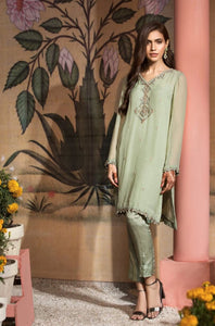 MINT WRAP - 2pc Chiffon Shirt With Silk Cotton Under Slip & Raw Silk Straight Pant. Stitched By Yesonline.Pk - yesonline.pk