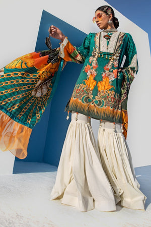 Selvecta 3pc Unstitched Digital Printed Lawn Shirt with Digital Printed Lawn Dupatta & Dyed Cambric Trouser - yesonline.pk