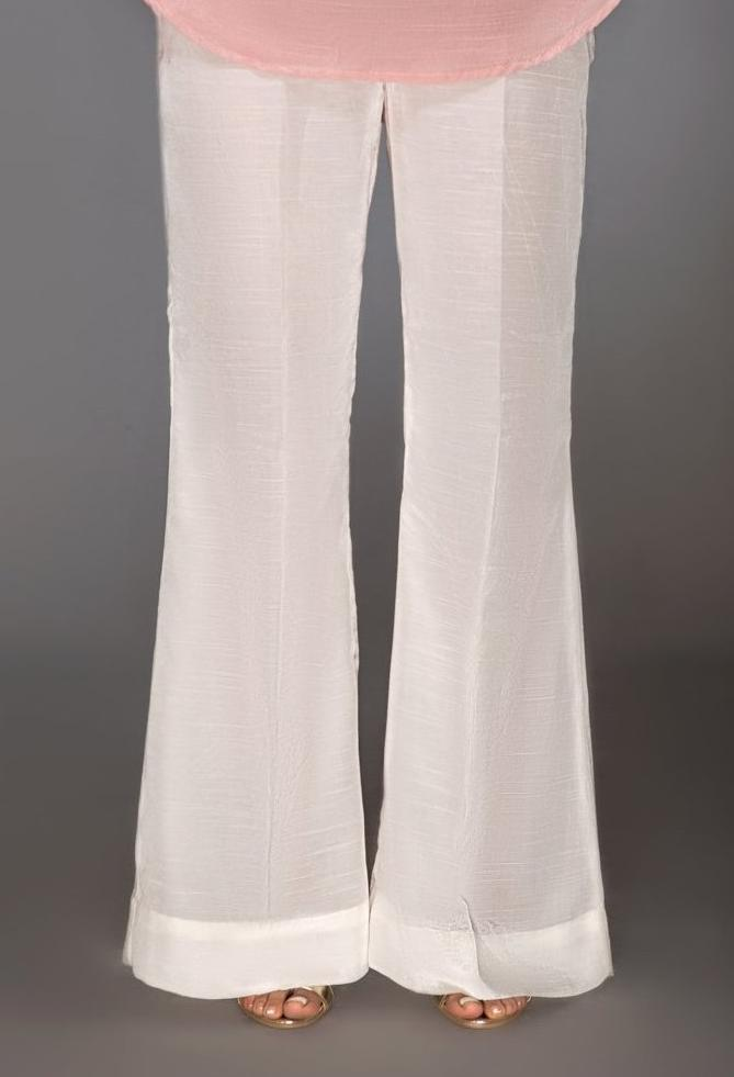 White Raw Silk Boot Cut Pants By Yesonline.Pk - yesonline.pk