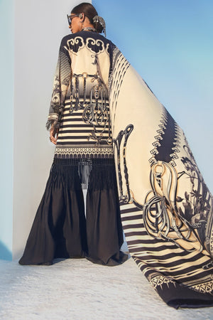 Chinese Art 3pc Unstitched Digital Printed Lawn Shirt with Digital Printed Lawn Dupatta & Dyed Cambric Trouser - yesonline.pk