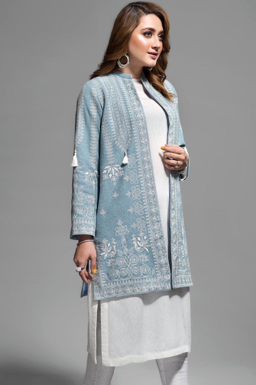 Iced Aqua Celtic Folk Front Open Jacket Embroidery , Bannu Wool 100% By Yesonline.Pk