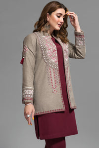Greige Native Folk Front Open Jacket  -  Embroidery , Bannu Wool 100% By Yesonline.Pk - yesonline.pk