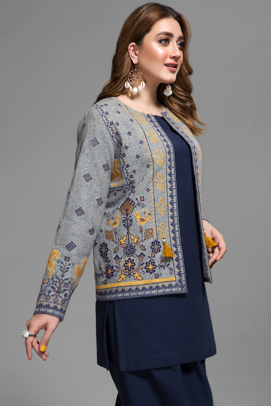 Smoked Pearl Gray Dasuti Folk Front Open Jacket Embroidery , Bannu Wool 100% By Yesonline.Pk - yesonline.pk