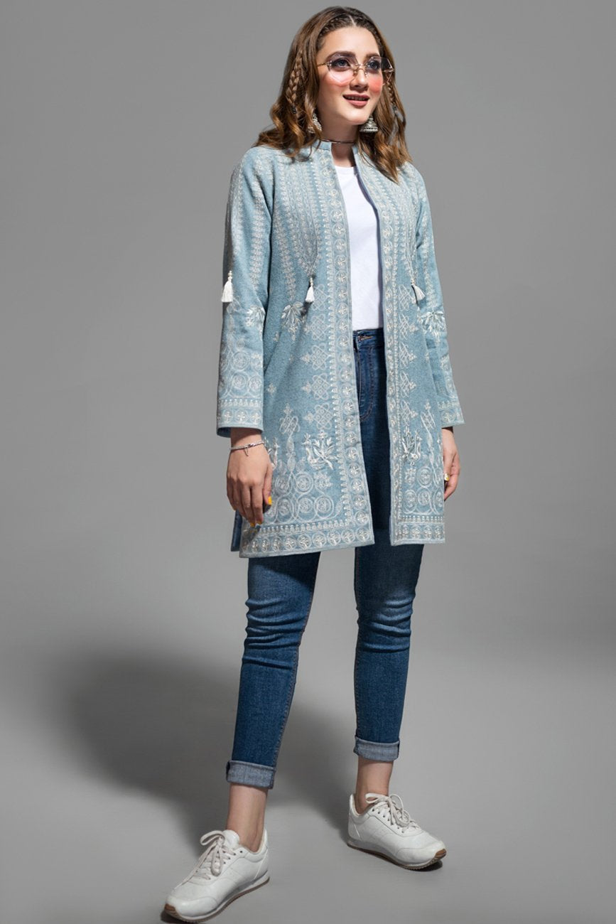 Iced Aqua Celtic Folk Front Open Jacket - yesonline.pk