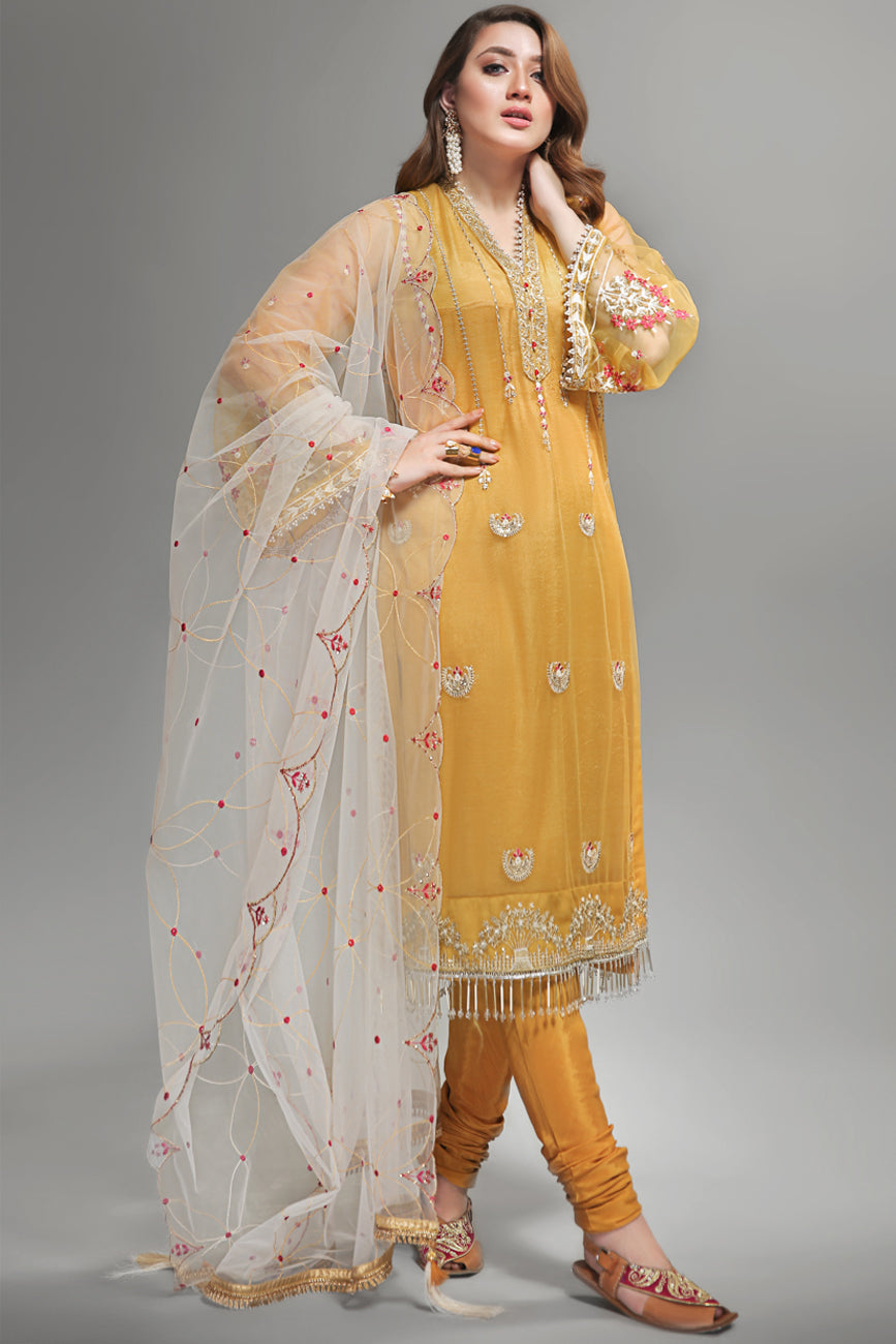 Golden Glow:Semi Formal Unstitched 4pc Embroidered On Poly Net Shirt With Dyed Slip Silk Cotton (Included Slip Front Back & Sleeves) , Embroidered Dupatta On Poly Net (Combination) & Dyed Matching Raw Silk Trouser - yesonline.pk