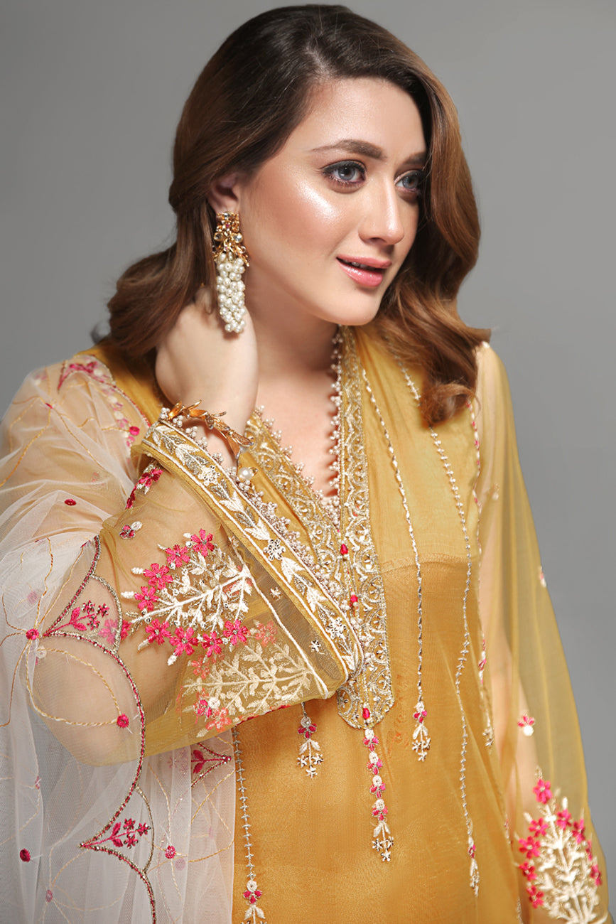 Golden Glow - Unstitched Semi-Formal 4pc - yesonline.pk