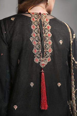 Black Phantom: Semi Formal Unstitched 4pc Embroidered On Poly Net Shirt With Dyed Slip Silk Cotton (Included Slip Front Back & Sleeves) , Embroidered Dupatta On Poly Net & Dyed Matching Raw Silk Trouser - yesonline.pk