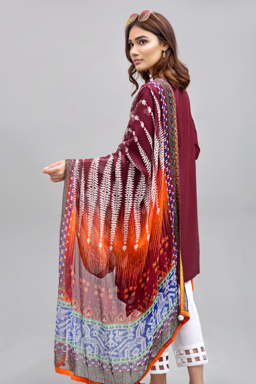 RUBY RED - 2pc Unstitched | Embroidered Lawn Shirt with Digital Chiffon Dupatta - yesonline.pk
