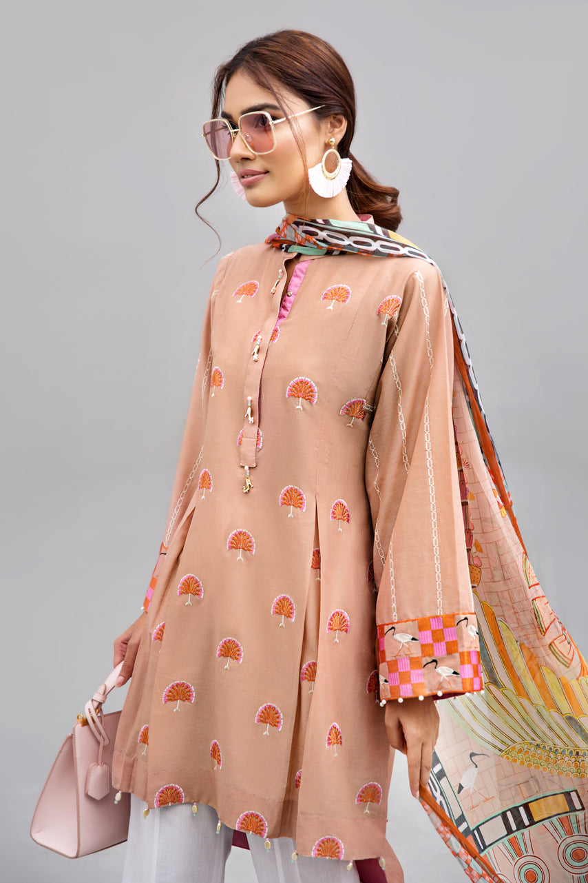 PEACHES & PINKS - 2pc Unstitched | Embroidered Lawn Shirt with Digital Chiffon Dupatta - yesonline.pk