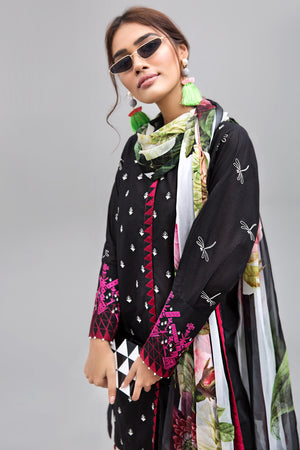 MAGENTA NOIR (BLACK) - 2pc Unstitched | Embroidered Lawn Shirt with Digital Chiffon Dupatta - yesonline.pk