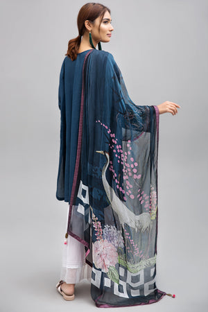 BLUE HUE - 2pc Unstitched | Embroidered Lawn Shirt with Digital Chiffon Dupatta - yesonline.pk