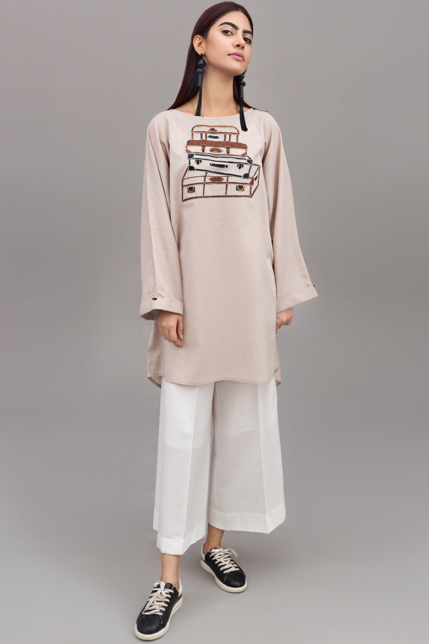 Beige Jacquard-weave Embroidered detail tunic By Yesonline.Pk - yesonline.pk