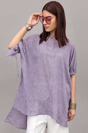 Tie-sleeve Airy Cotton-blend Blouse By Yesonline.Pk - yesonline.pk