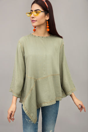Asymmetric Top Cotton Rich Mix Fabric By Yesonline.pk - yesonline.pk