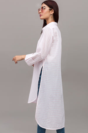 Pink & White Stand-up Collar Long Cotton Shirt  By Yesonline.Pk - yesonline.pk