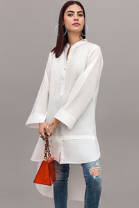 White Essential Cotton Long-sleeved Tunic By Yesonline.Pk - yesonline.pk