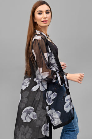 Black & Grey Floral Chiffon Fabric Shrug By Yesonline.pk - yesonline.pk
